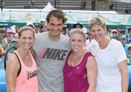 Roger Federer, Sally Pearson and Natalie Cook