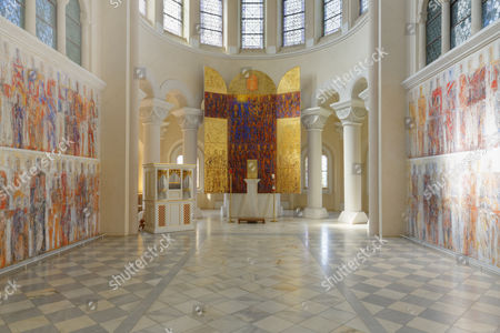 Stock Picture of Secco, fresco painting, with the altar by Valentin Oman, 1987, in the church of Marianum Tanzenberg, Schloss Tanzenberg Castle