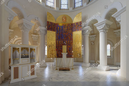 Stock Image of Altar by Valentin Oman, 1987, in the church of Marianum Tanzenberg, Schloss Tanzenberg Castle