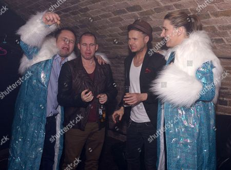 Stock Picture of Sam Bailey and husband raid the G-A-Y fancy dress box and join Jimmy Constable and Simon Dawbarn from 911 for coffee liquers