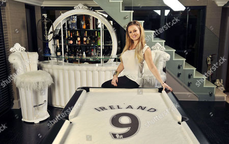 Jessica Lawlor In The Games Room.  20/12/12 For Irish Edition Wag Jessica Lawlor (pictured) Of Aston Villa Player Stephen Ireland At Home In Prestbury Cheshire. .