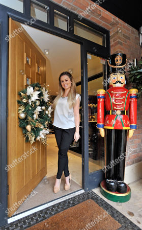 Jessica Lawlor With A Lifesize Toy Soldier Guards The Front Door  20/12/12 For Irish Edition Wag Jessica Lawlor Of Aston Villa Player Stephen Ireland At Home In Prestbury Cheshire.  Jessica Adjust Her Holly Bow On The Family Front.