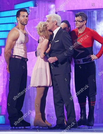 Jorgie Porter and Sylvain Longchambon and Joe Pasquale and Robin Johnstone are voted off and are consoled by Phillip Schofield