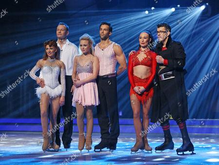 Bonnie Langford and Andrei Lipanov, Jorgie Porter and Sylvain Longchambon and Joe Pasquale and Robin Johnstone await the results
