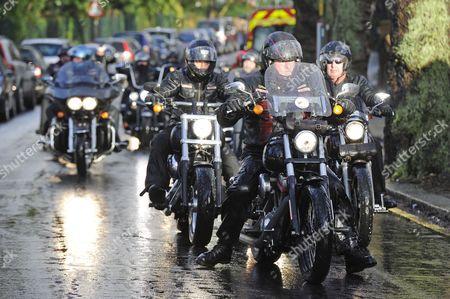 Hell's Angels bikers in the cortege