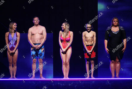 Michaela Strachan, Ricky Groves, Gemma Merna, Perri Kiely and Gemma Collins line up to hear who goes through to the semi final