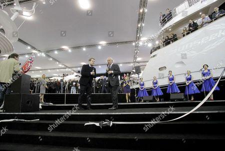 Actor James Corden and Sunseeker Chairman Robert Braithwaite at the London Boat Show