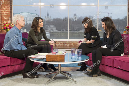 Stock Image of Phillip Schofield and Christine Bleakley with Francesca and Elisabetta Grillo