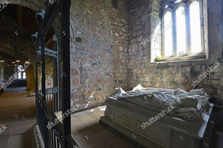 Stock Image of Chapel and tomb of the 8th Duke of Argyll of the Christian Iona Abbey, Iona pilgrimage monastery, monastery on the Scottish Hebridean island of Iona, Inner Hebrides, Scotland, United Kingdom
