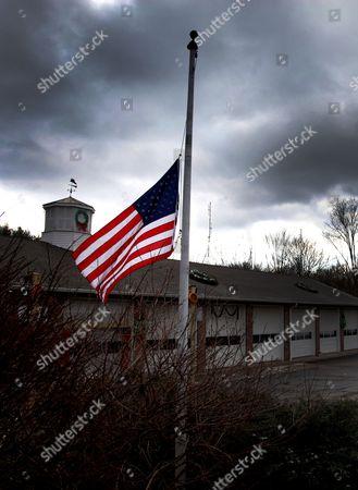 Stars and Stripes flag at half mast