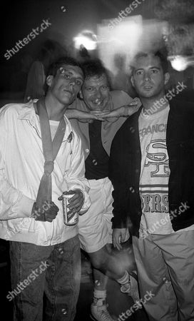 Tony Wilson, Factory Records Boss, Bez and Paul Ryder from the Happy Mondays, The Hacienda, Manchester 1989
