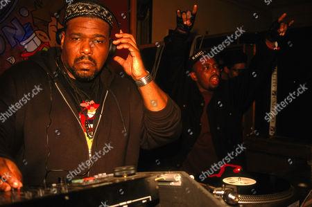 Hip hop pioneer DJ Afrika Bambaataa DJing London 1990's