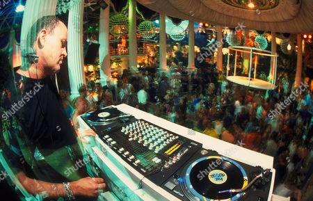 DJ Danny Rampling DJing at Clockwork Orange Es Paradis San Antonio Ibiza 2000's