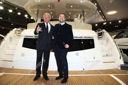 James Corden launches the new 75ft Sunseeker yacht with founder of Sunseeker Robert Braithwaite