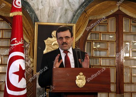 Tunisian Prime Minister Ali Laarayedh gives a press conference after submitting his resignation at Carthage Palace