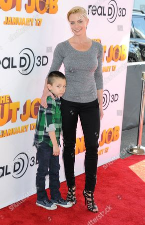 Stock Photo of Jaime Pressly with son Dezi James Calvo