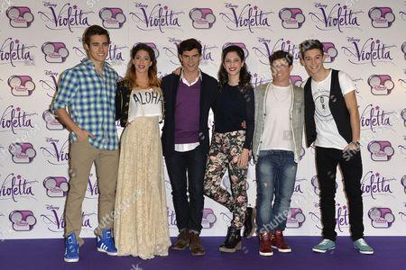 Stock Photo of Jorge Blanco, Martina Stoessel, Diego Dominguez, Lodovica Comello, Facundo Gambande and Ruggero Pasquarelli