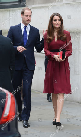 The Duke And Duchess Of Cambridge Leave The National Portrait Gallery After Viewing The First Official Portrait Of The Duchess Of Cambridge Painted By Artist Paul Emsley. Prince William.