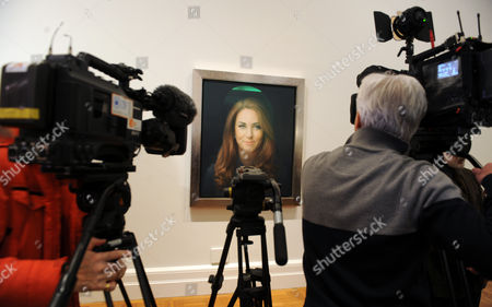 The Unveiling Of The First Official Portrait Of The Duchess Of Cambridge Painted By Artist Paul Emsley At The National Portrait Gallery London.