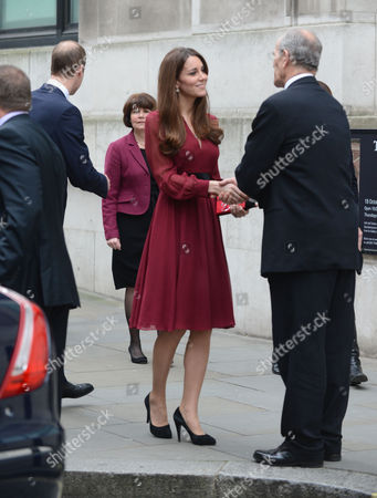 The Duke And Duchess Of Cambridge Leave The National Portrait Gallery After Viewing The First Official Portrait Of The Duchess Of Cambridge Painted By Artist Paul Emsley.