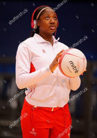 Sasha Corbin of England Netball during pre game warm-ups
