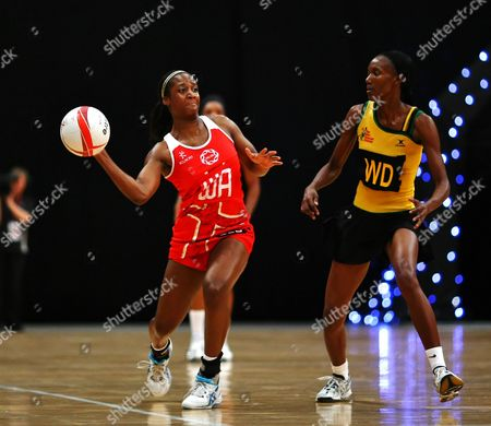 Sasha Corbin of England Netball and Paula Thompson of Jamaica
