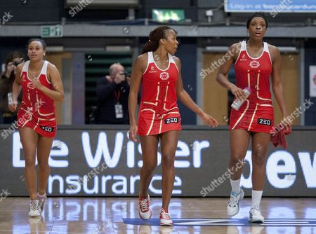 Pamela Cookey and Eboni Beckford Chambers of England Netball during the warm down session