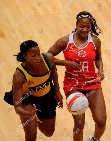 Sasha Corbin of England Netball and Stacian Facey of Jamaica