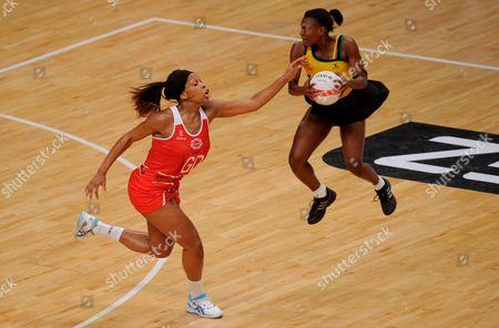 Eboni Beckford Chambers of England Netball and Shanice Beckford of Jamaica