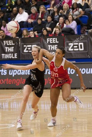 Camilla Lees of New Zealand battles with Stacey Francis of England