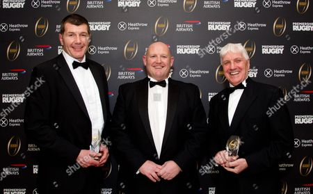 Stock Picture of Rob Baxter (L) and Ed Morrison (R) are inducted into the Premiership Rugby Hall of Fame - here with Phil Winstanley (centre)