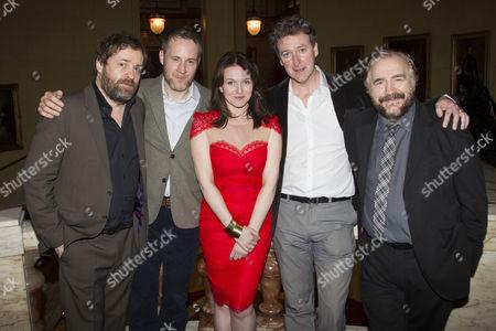 Ardal O'Hanlon (Jim), Peter McDonald (Brendan), Dervla Kirwan (Valerie), Risteard Cooper (Finbar) and Brian Cox (Jack)