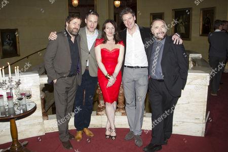 Stock Picture of Ardal O'Hanlon (Jim), Peter McDonald (Brendan), Dervla Kirwan (Valerie), Risteard Cooper (Finbar) and Brian Cox (Jack)