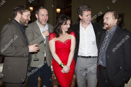 Stock Photo of Ardal O'Hanlon (Jim), Peter McDonald (Brendan), Dervla Kirwan (Valerie), Risteard Cooper (Finbar) and Brian Cox (Jack)