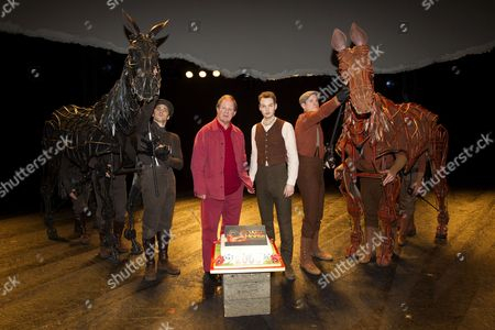 Author Michael Morpurgo and Sion Daniel Young (who plays Albert Narracott), with Topthorn and Joey
