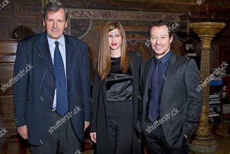 Ambassador Alain Le Roy, Stefano Accorsi and fiancee Bianca Vitali