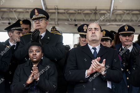 Italian Minister of Integration Cecile Kyenge and Nicola Zingaretti during ceremony