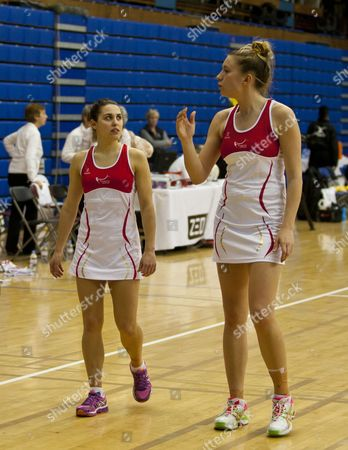 England A players during warm down session (from left Mia Ritchie and Lindsay Keable)