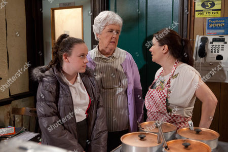 Coronation Street - Ep 8056 Wednesday 6 February 2013 Anna Windass [DEBBIE RUSH] enlists Sylvia Cropper [STEPHANIE COLE] to help in keeping an eye on Faye Windass [ELLIE LEACH].