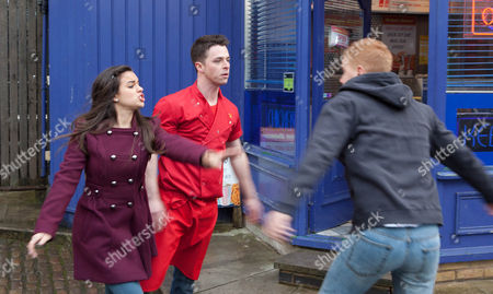 Coronation Street - Ep - 8082 Friday 15 March 2013 - 1st Ep Gary Windass [MIKEY NORTH] can't contain himself and picks a fight with Ryan Connor [SOL HERAS] in the street - suspecting Katy Armstrong [GEORGIA MAY FOOT] and Ryan of having an affair. Picture contact: david.crookatitv.com on 0161 952 6214