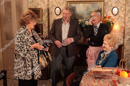 Coronation Street - Ep 8156 Wednesday 26 June 2013 Norris Cole [MALCOLM HEBDEN] fusses around Emily Bishop [EILEEN DERBYSHIRE] as Dennis Tanner [PHILIP LOWRIE] and Rita Tanner [BARBARA KNOX] come to visit.