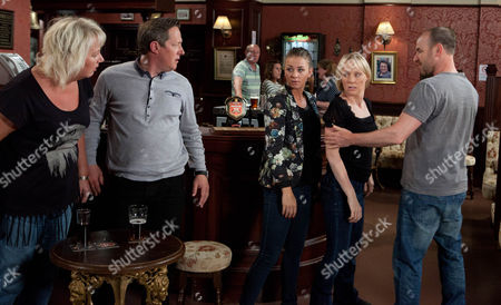 Coronation Street - Ep 8176 Wednesday 24 July 2013 Eileen Grimshaw [SUE CLEAVER] defends Paul Kershaw [TONY HIRST] to Sally Webster [SALLY DYNEVOR] and Sophie Webster [BROOKE VINCENT] â€' Tim [JOE DUTTINE] and Paul have to separate Sally and Eileen.