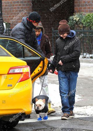 Stock Picture of Hugh Jackman, Oscar Jackman and friend, with dog Dali wearing bootees