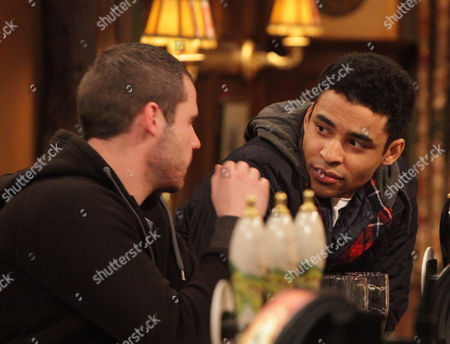 Emmerdale - 6195 Monday 26 March 2012 at 7pm Ed [LLOYD EVERITT] is gutted when Aaron Livesy [DANNY MILLER] tells him he can't move to France because it's not fair to leave his friend Adam.