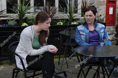 Stock Picture of Emmerdale - Ep 6252 Thursday 31 May 2012 at 7pm Hannah Barton [GRACE CASSIDY] admits to Amy Wyatt [CHELSEA HALFPENNY] she didn' sit her first exam as there isnâ much point with Holly having a job offer, she will be needed on the farm