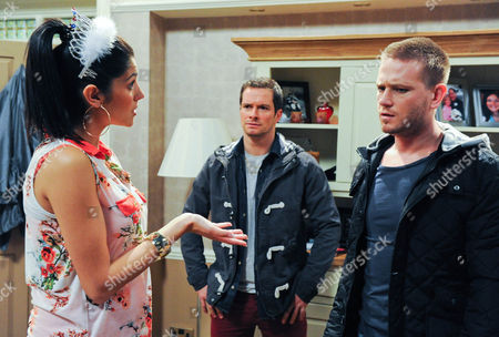 Emmerdale - Ep 6255 Monday 4 June 2012 at 7pm Alicia Gallagher [NATALIE ANDERSON] pulls Justin Gallagher [ANDREW LANGTREE] to one side and tells him she hit Val and now she could be sent to prison. Justin is hurt when she continues, she thinks Jacob will be better off living with David Metcalfe [MATTHEW WOLFENDEN]. When David interrupts their conversation, Justin tells him he isn't having his son. David is shocked realising what Alicia has suggested. They bicker and Justin insists she tell Jacob she could be going to prison.