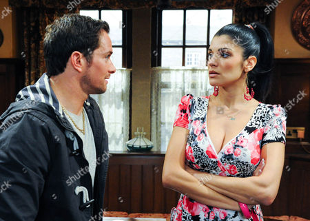 Emmerdale - Ep 6262 Friday 15 June 2012 Justin Gallagher [ANDREW LANGTREE] tells Alicia Gallagher [NATALIE ANDERSON] she must tell Jacob she could be going to prison, otherwise he will tell him.
