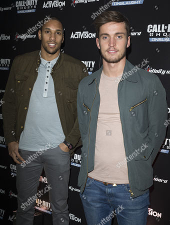 Stock Picture of Shaun Batt footballer for Leyton Orient and footballer Sam Corcoran enjoying the Call of Duty: Ghosts Onslaught launch party.