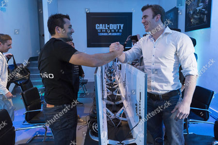 French rugby union player Fabrice Estebanez and English rugby union player Tom Croft enjoying the Call of Duty: Ghosts Onslaught launch party.