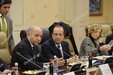 Stock Image of Laurent Fabius, Francois Hollande and Nicole Bricq